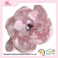Buy cheap 5.5cm White Handmade Rhinestone Satin Fabric Flowers , craft fabric flowers fashion design from wholesalers