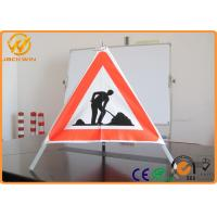 Buy cheap Three legged Stand Tripod Folding Warning Sign white / red days bright for construction site from wholesalers