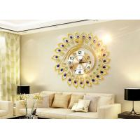 Buy cheap Luxury Peacock Design Metal Wall Clock Gold Plated For Home Decoration from wholesalers