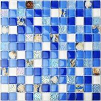 Buy cheap Beach Blue White Sea Glass Mosaic Tile Sheets , Mosaic Border Tiles For Balcony from wholesalers