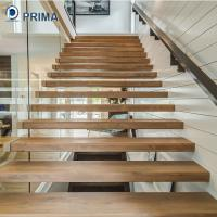 Buy cheap modern interior wood treads floating stairs with carbon steel beam from wholesalers