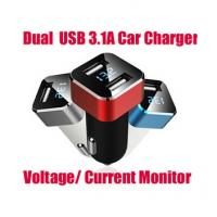 Buy cheap Universal Dual USB Car Charger Adapter 5V 3.1A 2-Port Output Voltage Current Monitor Vehicle Voltage Display from wholesalers