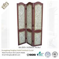 Buy cheap Wood Carving Air Brush Decorative Folding Screens Hotel Tri Fold Privacy Screen from wholesalers