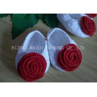 Buy cheap Red Rose Free Crochet Baby Shoes Comfortable White Body 100% Milk Cotton product
