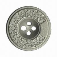 Buy cheap Zinc Alloy Sewing Button with Embossed Flower Logo, Measuring 20mm from wholesalers