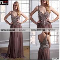 Buy cheap Custaom made Beaed Bodice Spaghetti Straps Evening Dress Long Prom Dresses from wholesalers
