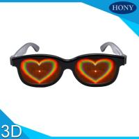 Buy cheap ABS Frame Heart 3D Diffraction Glasses Black Frame for wedding party from wholesalers