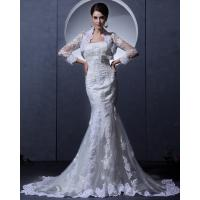 Buy cheap Simple Lace Bra long train Ladies Wedding Dresses strapless wedding gowns with Invisible Zipper from wholesalers