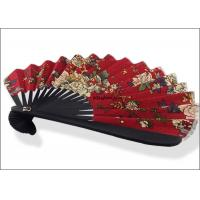 Buy cheap 21cm Black Hand Held Folding Fans Bamboo Red Pattern Full Color Souvenir Use product