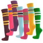 Buy cheap Pink heart - shaped Microfiber women long five toe socks, knee high toe socks from wholesalers