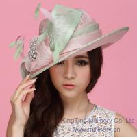Buy cheap Green / Pink Sinamay Ladies Hats Sinamay Feather Trim For Church / Wedding from wholesalers