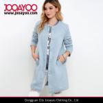 Buy cheap Ladies Collarless Long Sleeve Light Blue Wool Long Winter Coat from wholesalers