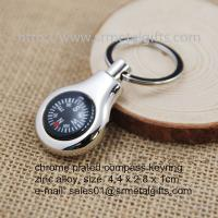 Buy cheap Water drop chrome plated metal compass keyring, hiking kit compass keychain, from wholesalers