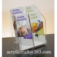 Buy cheap Acrylic brochure holder, plexiglass brochure stand / racks with 4 pockets from wholesalers