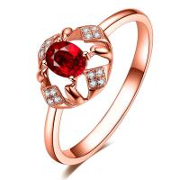 Buy cheap Beautiful Oval Cut Ruby Ring With Diamond Halo For Women Proposal from wholesalers