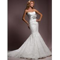 Buy cheap Built-In Bra Strapless Meermaid Lace Beaded Wedding Gowns With Flowers from wholesalers