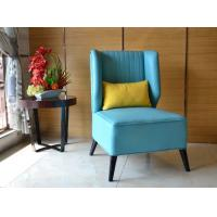 Buy cheap Blue PU Leather Wing Back Chairs With Yellow Cushion Copper Nail Decorative from wholesalers