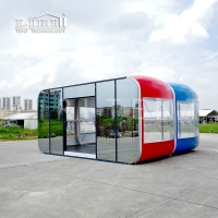 Buy cheap 6M Colorful Mobile House Inflatable Transparent Glass Glamping Tent for Man Cave Private Room from wholesalers