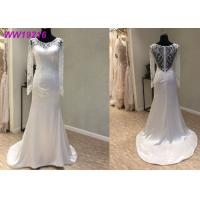 Buy cheap Elegant Illusion Back French A Line Ball Gown Wedding Dress With Lace Beaded Decoration from wholesalers