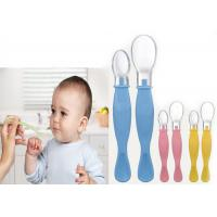China Soft BPA Free Silicone Baby Feeding Spoons Double Ended Serving on sale