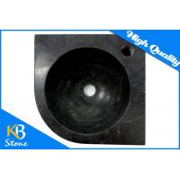 Buy cheap Round Pure Black Marble Stone Wash Basin Polished Natural Stone Home Use Sink from wholesalers