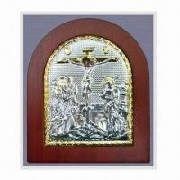 Buy cheap Metal/Aluminum Orthodox Icon with Silver Plating Surface Finish, Suitable for Religious Decoration from wholesalers