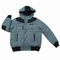 Buy cheap Men's winter jacket with hood, woolen fabric with down feeling polyester padding, fashionable design from wholesalers