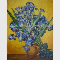 Buy cheap Custom Hand Painted Van Gogh Irises In Vase Against A Yellow Background from wholesalers
