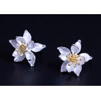 Buy cheap Gold Plated Sterling Silver Flower Earrings , Lotus Flower Silver Earrings For Ladies from wholesalers