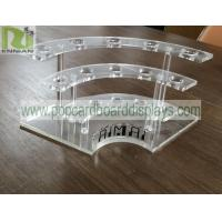 Buy cheap customized POP clear acrylic display stands with holes for bottles PS material from wholesalers