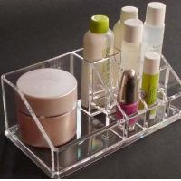 Buy cheap Clear acrylic cosmetic display / acrylic makeup display with Grid from wholesalers