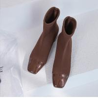Buy cheap Knit boots tube shoes Middle Heels boot Women Leather Shoes Casual party boots 2018 winter hot item from wholesalers