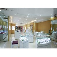 Buy cheap Retail Shop Lighted Commercial Jewelry Wall Display Case High Glossy White Color from wholesalers