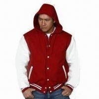 Buy cheap Baseball Jacket with Hood, Made of PU Leather, Customized Colors are Accepted from wholesalers