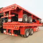 Buy cheap 8 Wheeler 2 Axle 40 Tons Bogie Flat Deck Semi Trailer from wholesalers