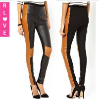 Buy cheap autumn punk motorcycle PU leather pants feet hit the color stitching Slim casual pants from wholesalers