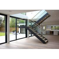 Buy cheap Interior wooden straight staircase with glass railing free design product