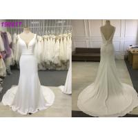 Buy cheap Double V Neck A Line Wedding Dress / A Line Style Wedding Dresses With Pearls Belt from wholesalers