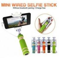 Buy cheap Mini Wired Smartphone Selfie Stick Stainless Steel Blue Groove Design from wholesalers