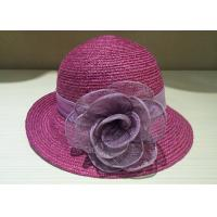 Buy cheap Women Church Short Brim Bucket Hats Straw Braid , Summer party hats from wholesalers