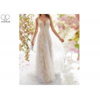 Buy cheap Sexy A Line Bridal Gowns / Sling Beige Deep V Neck Wedding Gown Laces Beading from wholesalers