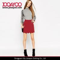 Buy cheap Ladies Vintage Skirt Pattern Wine Red A-Line Mini Skirt with Scallop Hem from wholesalers