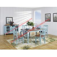 Buy cheap Mediterranean Style Dining room Furniture by wood table and chairs with Buffet Cabinet in white/blue painting from wholesalers