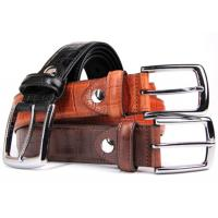 "Buy cheap 1.3"" Wide Genuine Leather Casual Belt With Embossed Bamboo Pattern from wholesalers"