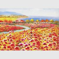 Buy cheap Palette Knife Poppy Oil Painting Colorful Red Floral Canvas Painting for Home product