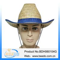 Buy cheap Natural 100% kwai straw wide brim cowboy hat with grosgrain ribbon for men from wholesalers