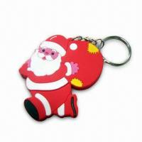 Buy cheap Christmas Keychain, Made of PVC and O-ring, Various Sizes and Colors are product