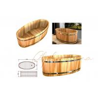 Buy cheap 1 Person Oval Wooden Bathtub Stand Alone Feat Fabulous Bathroom Floor Shower Room from wholesalers