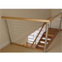 Buy cheap Metal Craft 304 Stainless Steel Cable Stair Railing With Top Wood Handrail from wholesalers