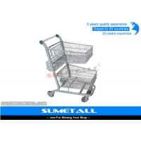 Buy cheap Metal Double Basket Shopping Cart , 2 Basket Shopping Trolley For Supermarket from wholesalers